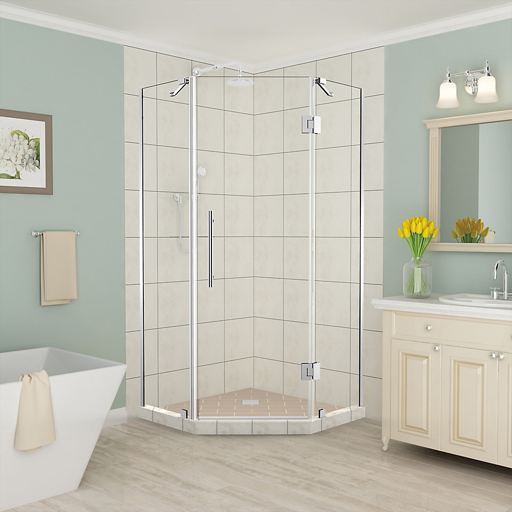 Merrick 36 inch to 36.5 inch x 72 inch Frameless Neo-Angle Shower Enclosure in Chrome