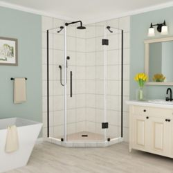 Aston Merrick 34 inch to 34.25 inch x 72 inch Frameless Neo-Angle Shower Enclosure in Oil Rubbed Bronze