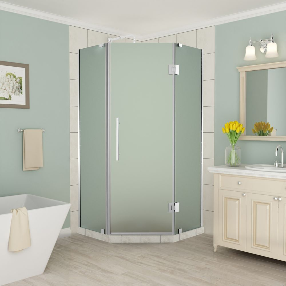 Aston Merrick 42 - 42.5 inch x 72 inch Frameless Neo-Angle Shower Enclosure, Frosted Glass, Chrome