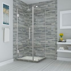 Aston Bromley 33.25 - 34.25 inch x 34.375 inch x 72 inch Frameless Hinged Shower Enclosure, Chrome