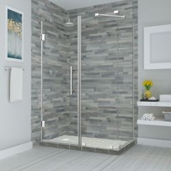 Aston Bromley 38.25 - 39.25 inch x 32.375 inch x 72 inch Frameless Hinged Shower Enclosure, Chrome