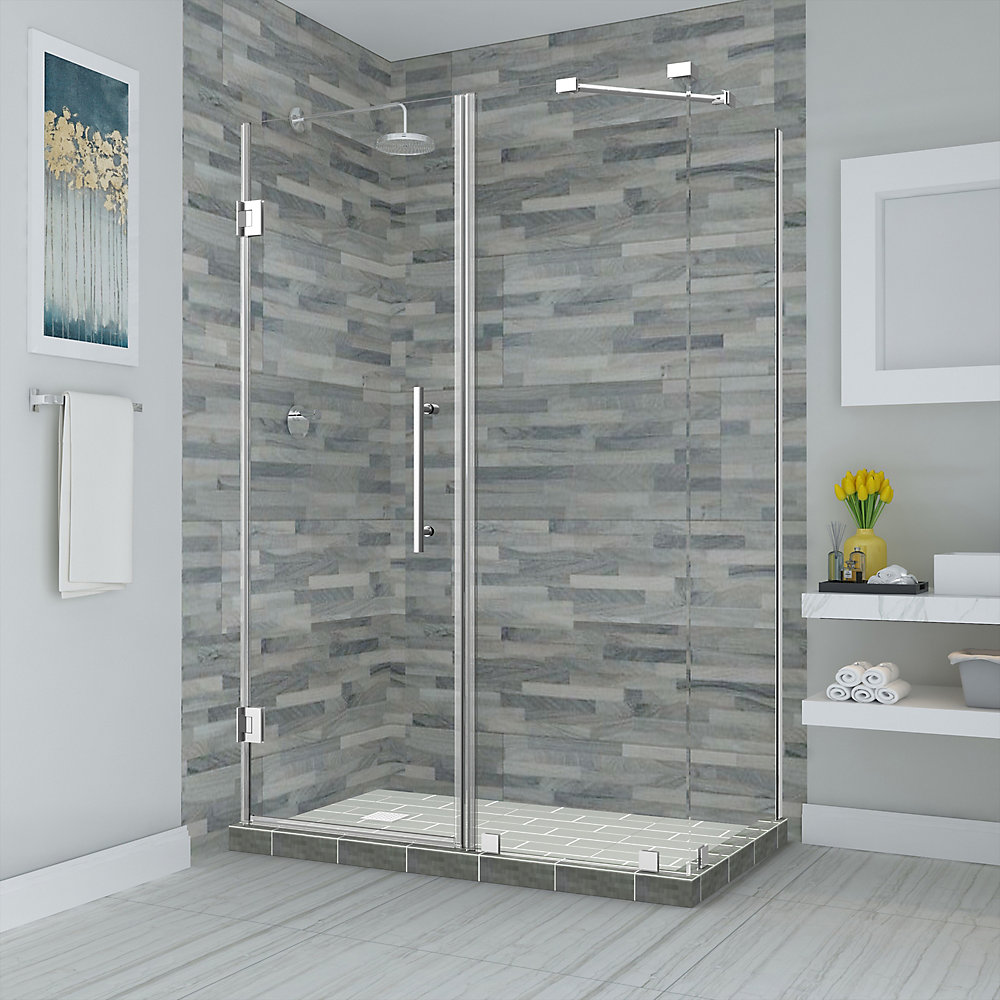 Bromley 38.25 - 39.25 inch x 38.375 inch x 72 inch Frameless Hinged Shower Enclosure, Chrome