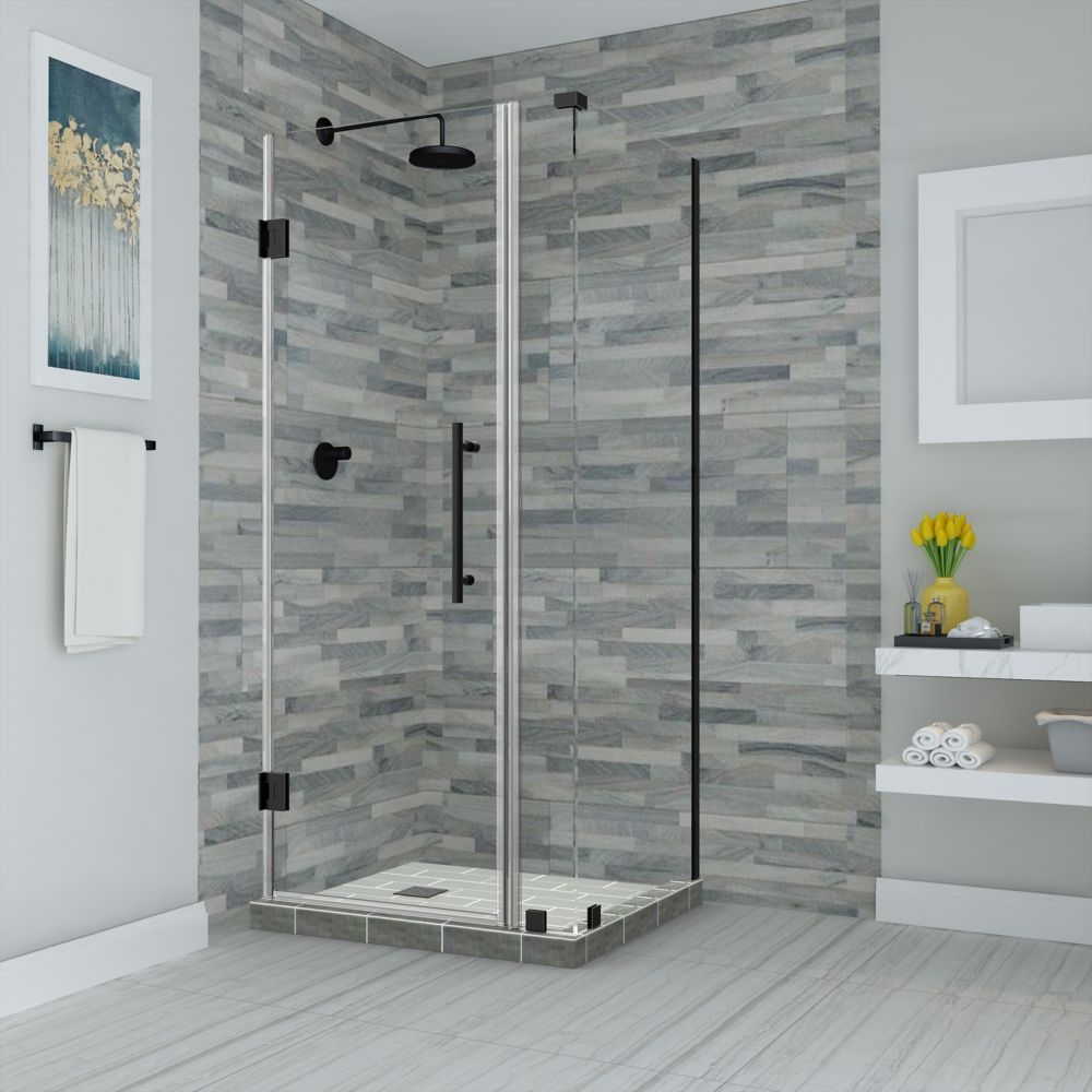Aston Bromley 27.25 - 28.25 inch X38.375 inch X72 inch Frameless Hinged Shower Enclosure, Oil Rubbed Bronze