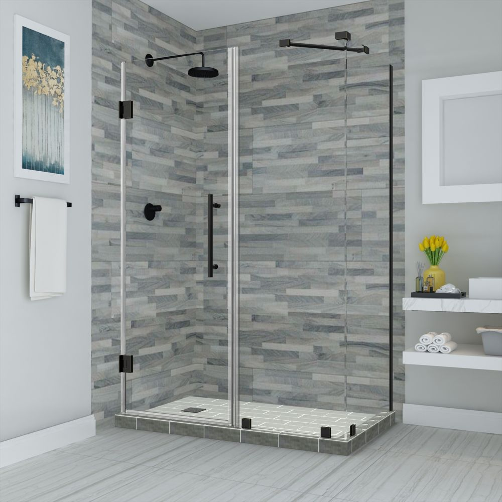 Aston Bromley 39.25 - 40.25 inch X38.375 inch X72 inch Frameless Hinged Shower Enclosure, Oil Rubbed Bronze