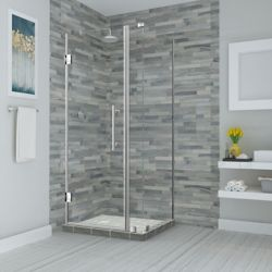Aston Bromley 27.25 - 28.25 inch X34.375 inch X72 inch Frameless Hinged Shower Enclosure, Stainless Steel