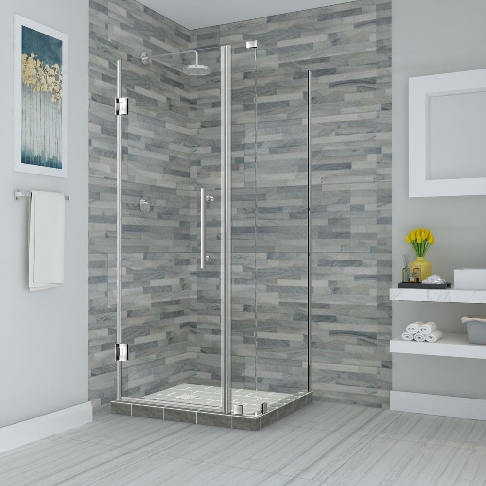 Aston Bromley 34.25 - 35.25 inch X38.375 inch X72 inch Frameless Hinged Shower Enclosure, Stainless Steel