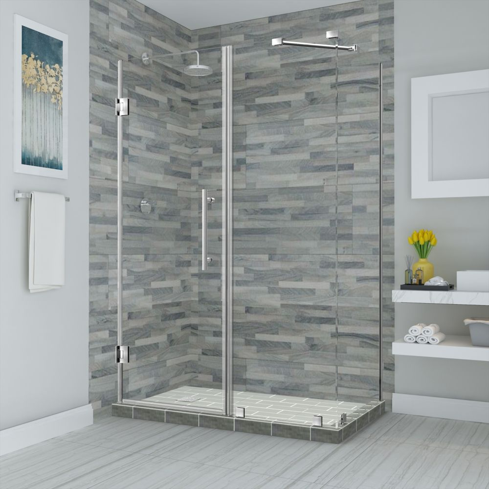 Aston Bromley 64.25 - 65.25 inch X32.375 inch X72 inch Frameless Hinged Shower Enclosure, Stainless Steel