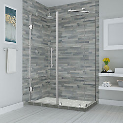 Aston Bromley 67.25 - 68.25 inch X34.375 inch X72 inch Frameless Hinged Shower Enclosure, Stainless Steel