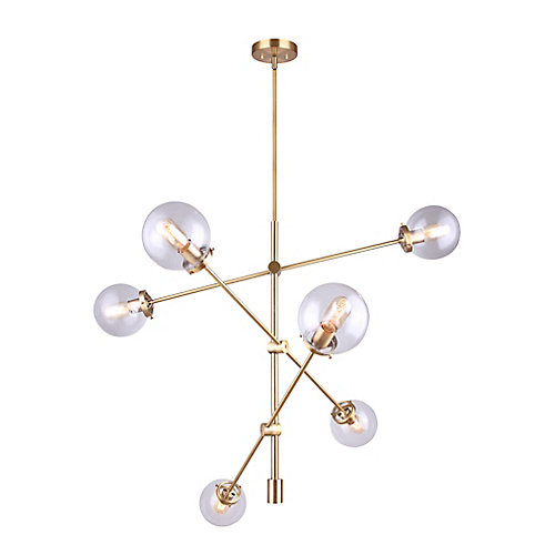 KYLO 6-Light Gold Chandelier with Clear Glass
