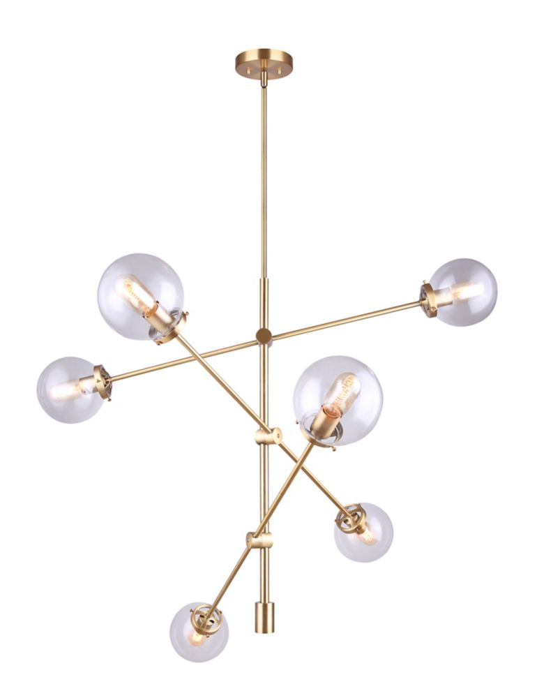 Canarm KYLO 6-light gold chandelier with clear glass