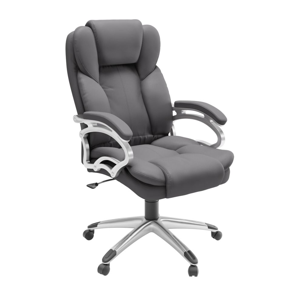 Corliving Workspace Executive Office Chair in Steel Grey Leatherette