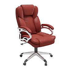Chaise de bureau exécutif en similicuir rouge brique