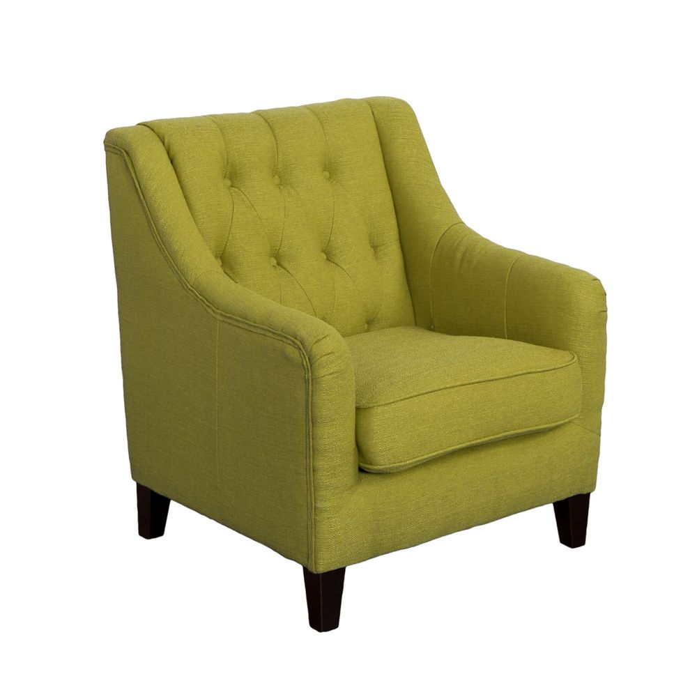 Corliving Dana Diamond Tufted Accent Chair in Green Linen Fabric