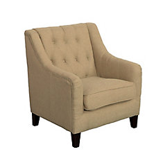 Dana Diamond Tufted Accent Chair in Beige Linen Fabric