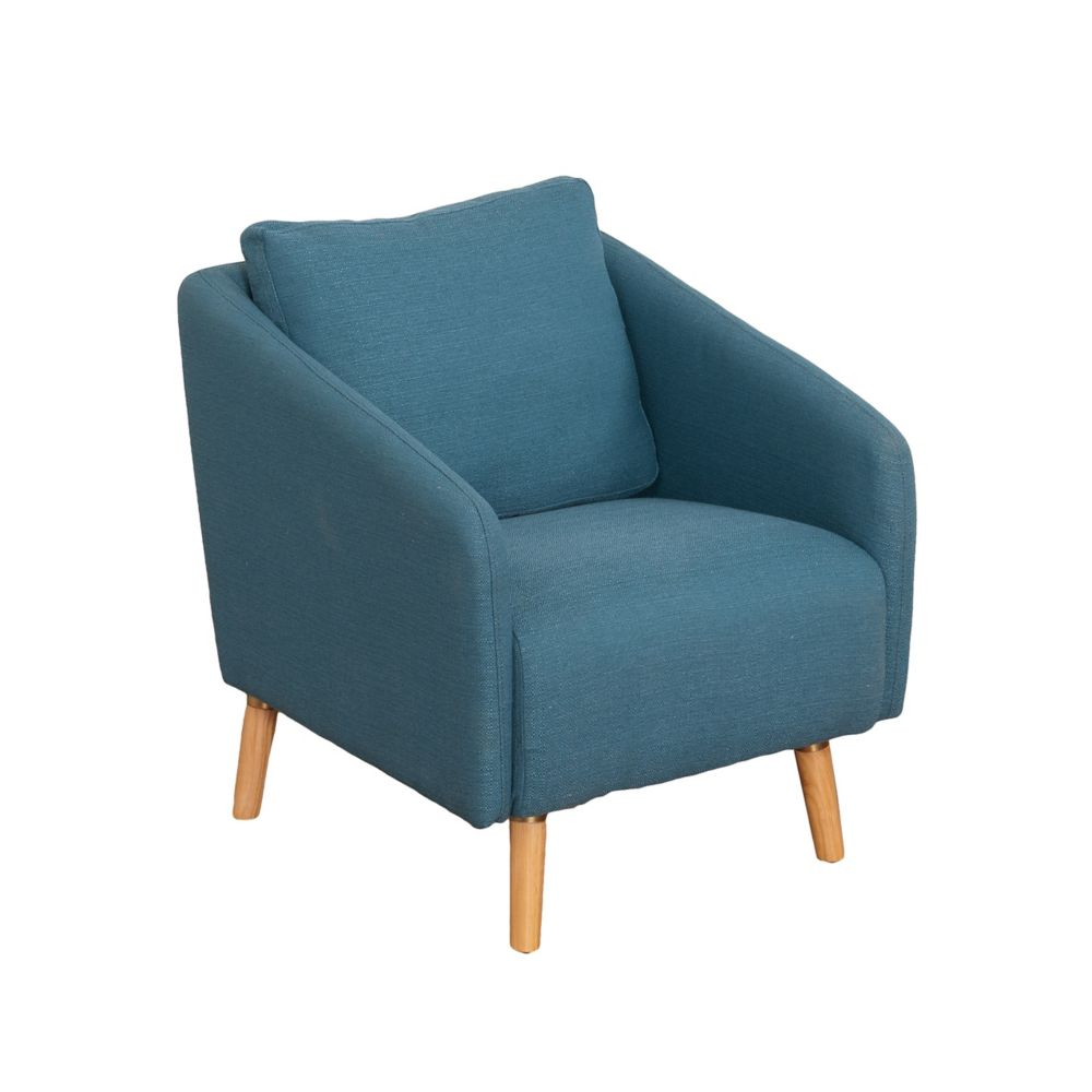 Corliving Dolsey Blue Woven Fabric Accent Chair with Flared Wooden Legs