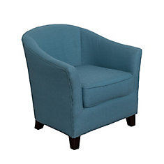 Shirley Contemporary Tub Chair in Blue Linen Fabric