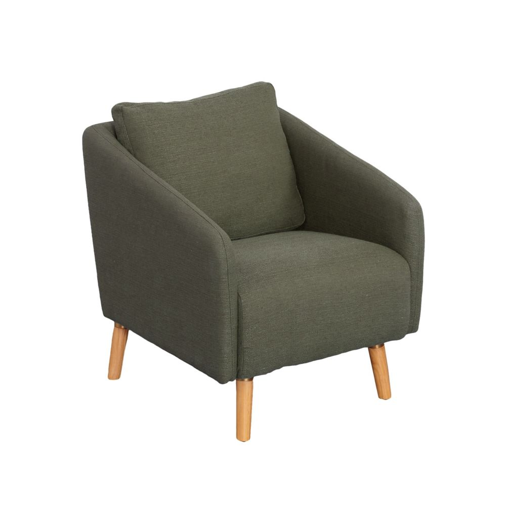 Corliving Dolsey Greenish-Grey Fabric Accent Chair with Flared Wooden Legs