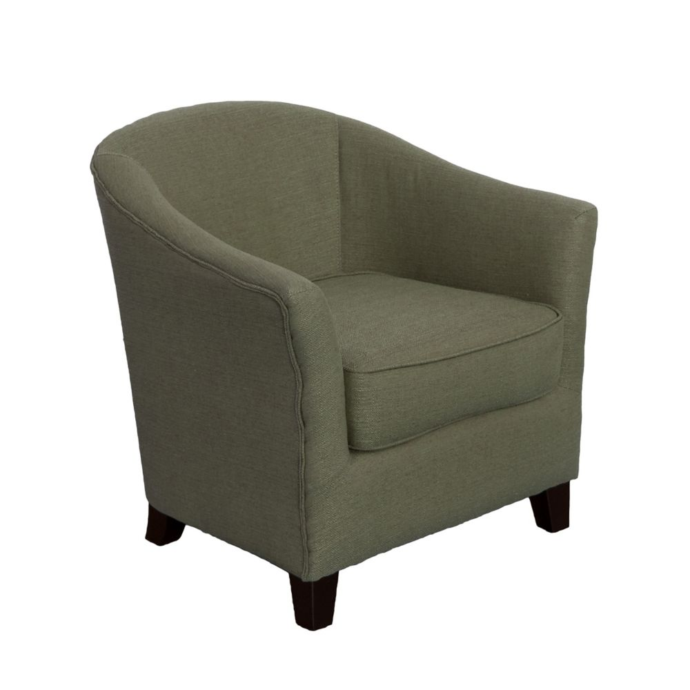 Corliving Shirley Contemporary Tub Chair in Greenish-Grey Linen Fabric