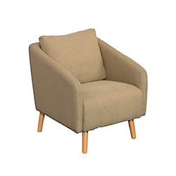 Corliving Dolsey Beige Woven Fabric Accent Chair with Flared Wooden Legs