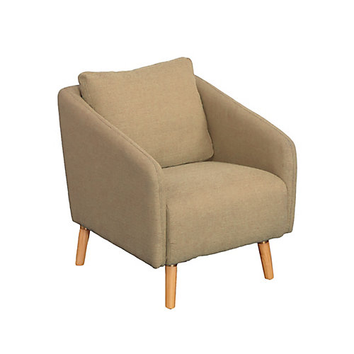Dolsey Beige Woven Fabric Accent Chair with Flared Wooden Legs