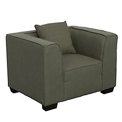 Corliving Lida Armchair in Greenish-Grey Fabric