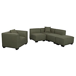 Corliving Lida 5-Piece Greenish-Grey Fabric Sectional Chaise and Chair Set