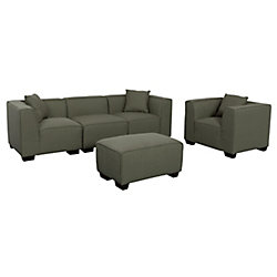 Corliving Lida 5-Piece Greenish-Grey Fabric Sectional Sofa, Chair and Ottoman Set