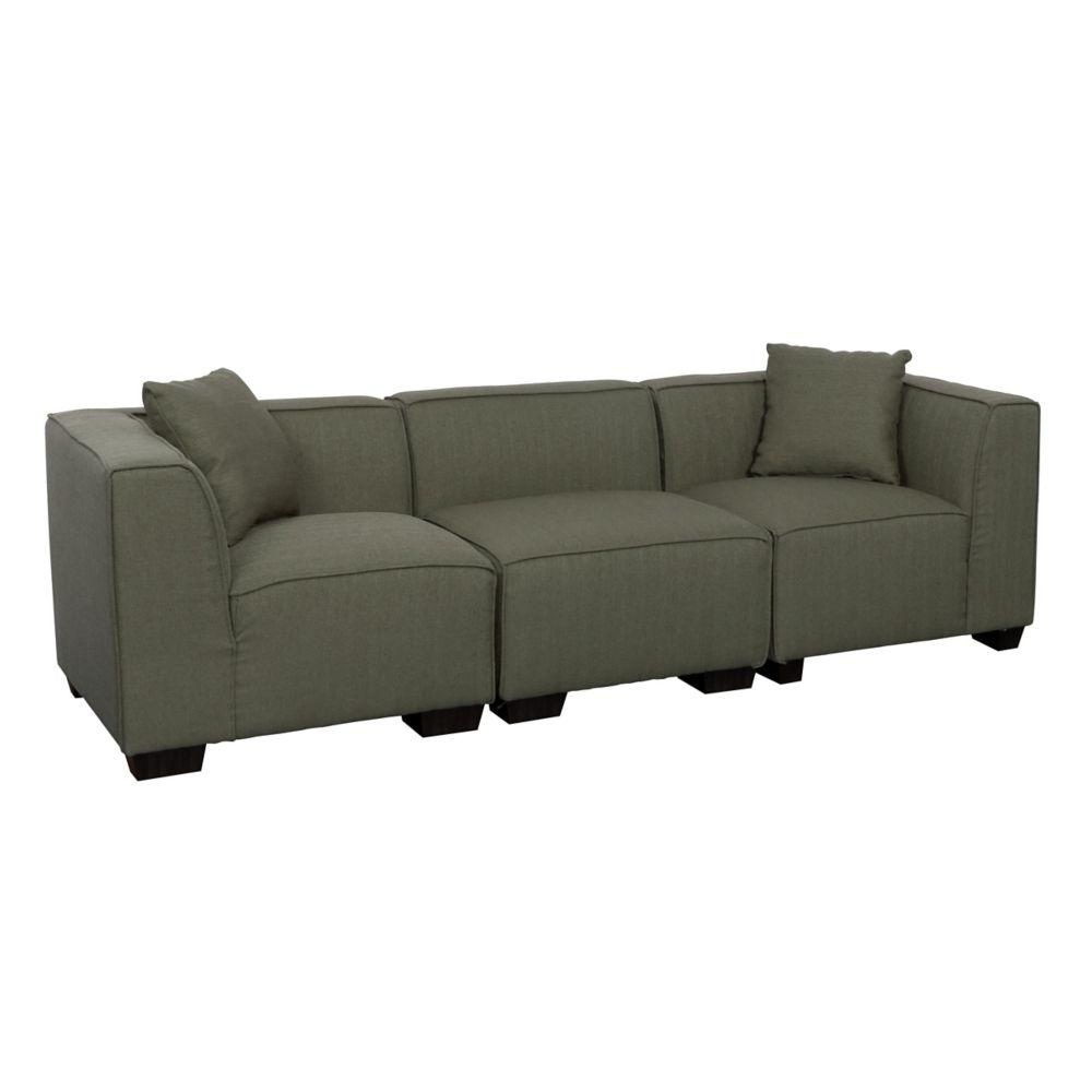 Corliving Lida 3-Piece Greenish-Grey Fabric Sectional Sofa Set