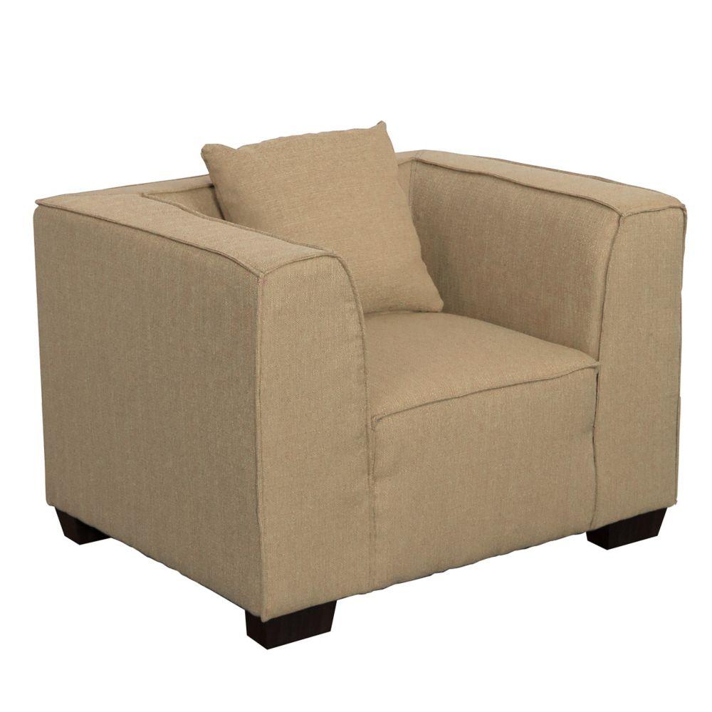 Corliving Lida Armchair in Beige Fabric