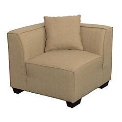 Corliving Lida Corner Wedge Sectional Seat in Beige Fabric