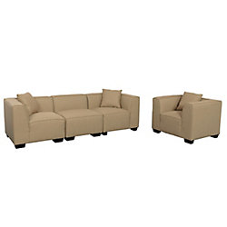 Corliving Lida 4-Piece Beige Fabric Sectional Sofa and Chair Set