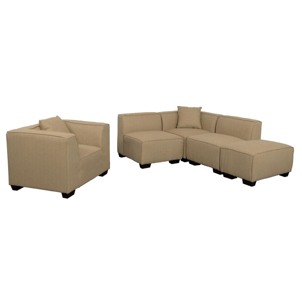 Corliving Lida 5 Piece Beige Fabric Sectional Chaise And