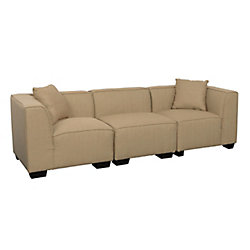 Corliving Lida 3-Piece Beige Fabric Sectional Sofa Set