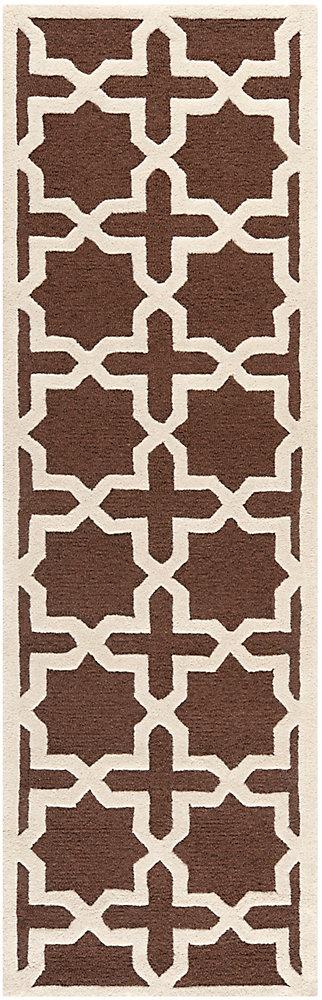 Tapis de passage d'intérieur, 2 pi 6 po x 12 pi, Cambridge Bernadette, brun foncé / ivoire