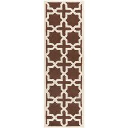 Safavieh Tapis de passage d'intérieur, 2 pi 6 po x 12 pi, Cambridge Bernadette, brun foncé / ivoire