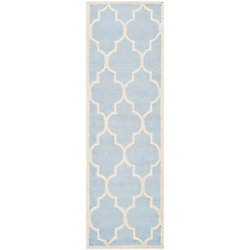 Safavieh Cambridge Derek Light Blue / Ivory 2 ft. 6-inch x 12 ft. Indoor Runner