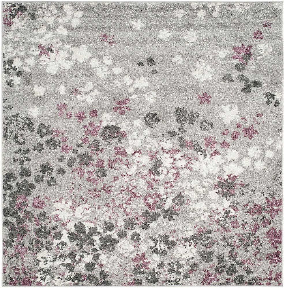 Tapis d\'intérieur carré, 4 pi x 4 pi, Adirondack Arthur, gris clair / violet