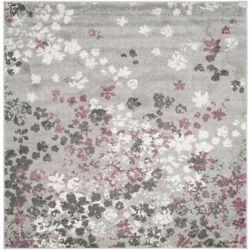 Safavieh Tapis d'intérieur carré, 4 pi x 4 pi, Adirondack Arthur, gris clair / violet