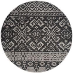 Safavieh Tapis d'intérieur rond, 8 pi x 8 pi, Adirondack Karina, argent / noir