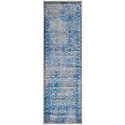 Safavieh Adirondack Mackenzie Grey / Blue 2 ft. 6-inch x 22 ft. Indoor Runner