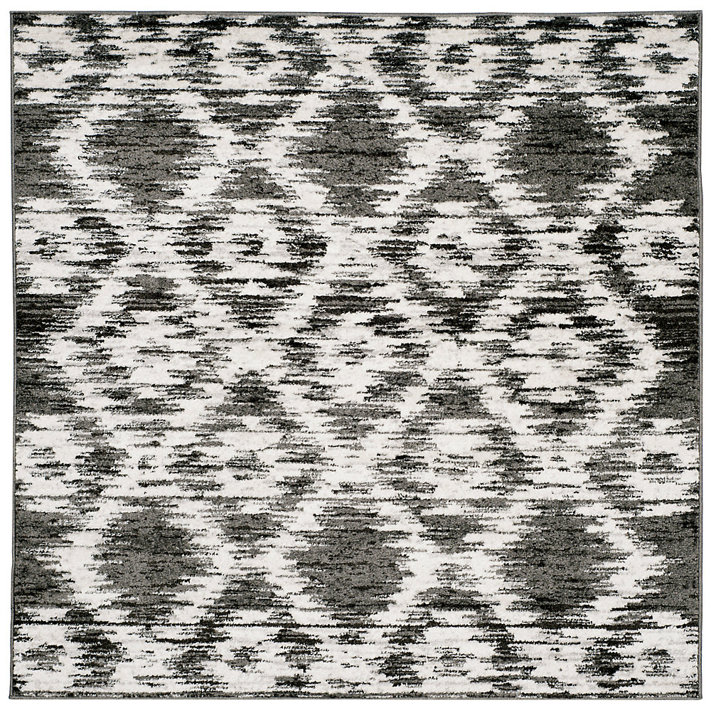 Adirondack Sheryl Charcoal / Ivory 4 ft. x 4 ft. Indoor Square Area Rug