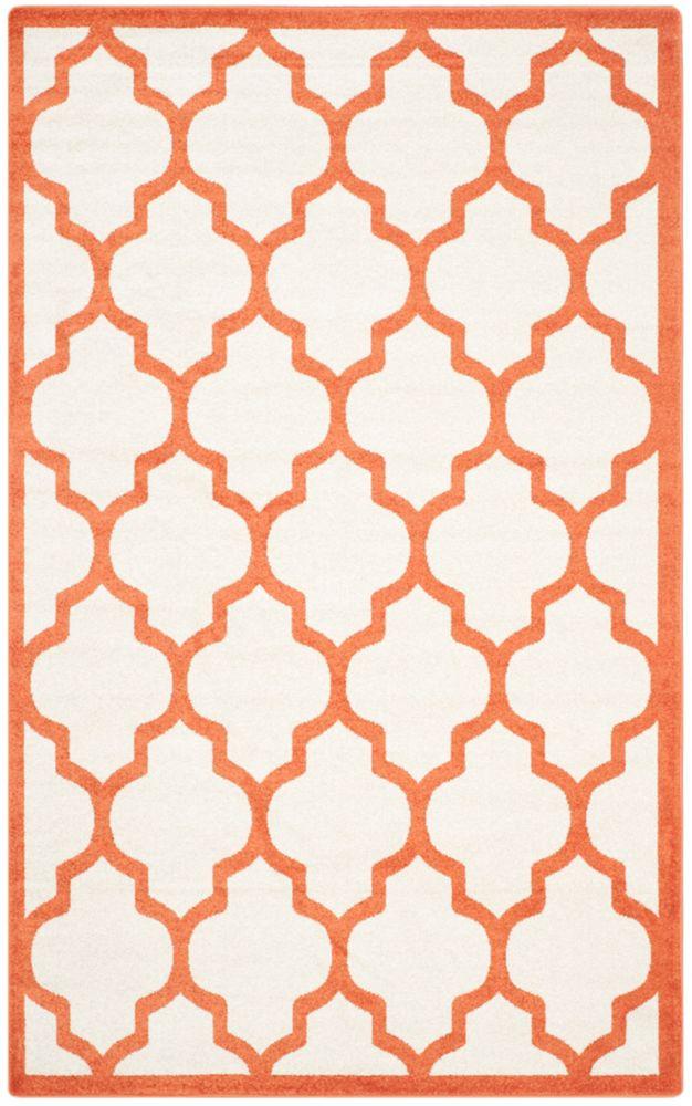 Safavieh Amherst Bradford Beige / Orange 6 ft. x 9 ft. Indoor/Outdoor Area Rug