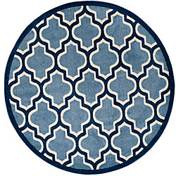 Safavieh Amherst Bradford Light Blue / Navy 7 ft. x 7 ft. Indoor/Outdoor Round Area Rug