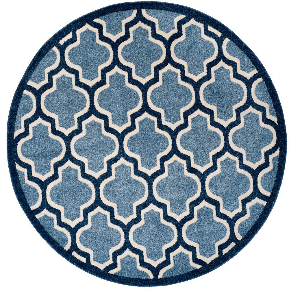 Safavieh Amherst Bradford Light Blue / Navy 7 ft. x 7 ft. Indoor/Outdoor Round Area Rug