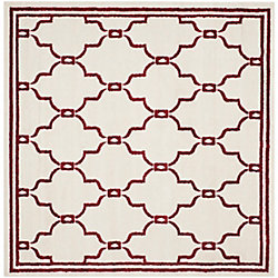 Safavieh Amherst Katie Ivory / Red 7 ft. x 7 ft. Indoor/Outdoor Square Area Rug