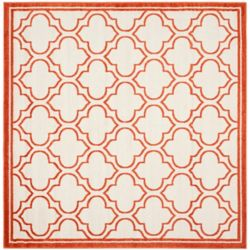 Safavieh Amherst Shirley Ivory / Orange 5 ft. x 5 ft. Indoor/Outdoor Square Area Rug