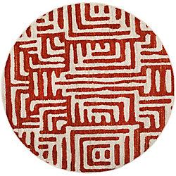 Safavieh Tapis d'intérieur rond, 6 pi 7 po x 6 pi 7 po, Amsterdam Francesca, ivoire / ocre bun