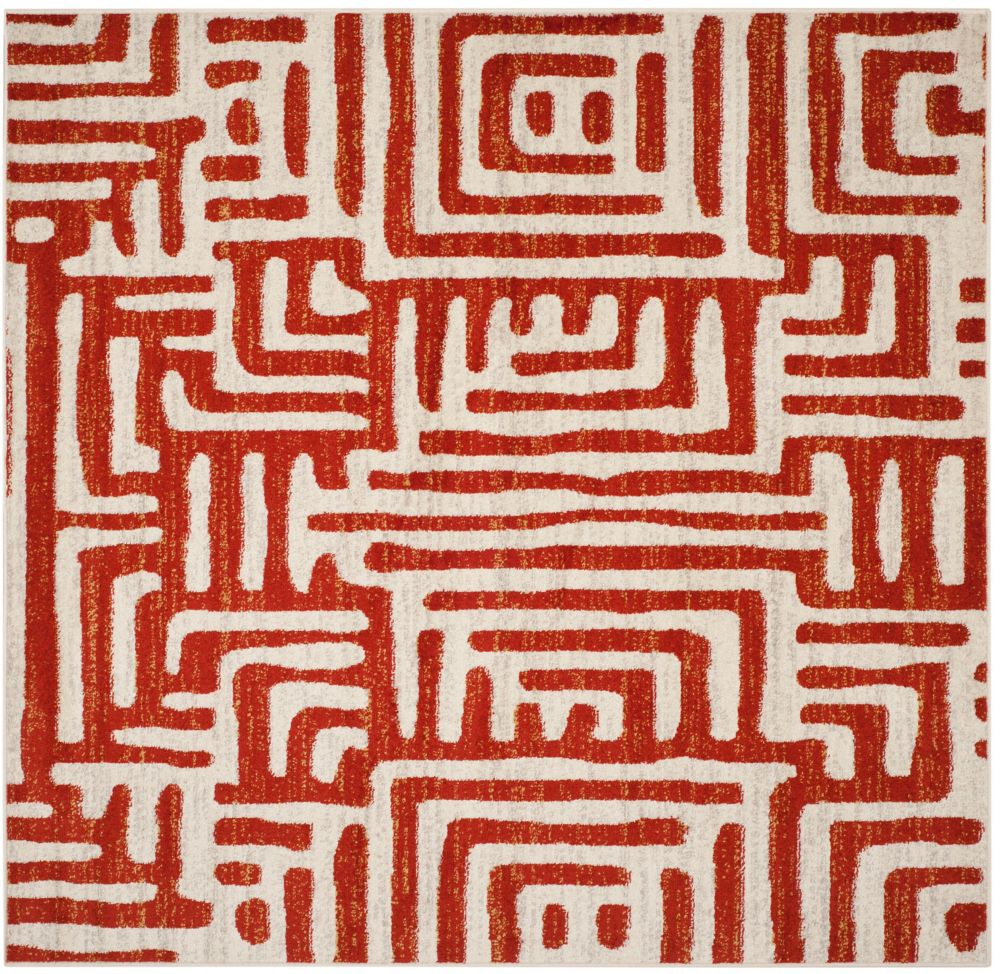 Safavieh Amsterdam Francesca Ivory / Terracotta 6 ft. 7-inch x 6 ft. 7-inch Indoor Square Area Rug