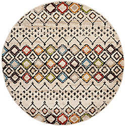 Safavieh Amsterdam Susan Ivory / Multi-Colour 6 ft. 7-inch x 6 ft. 7-inch Indoor Round Area Rug