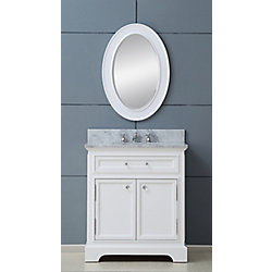 Water Creation Derby 30-inch W Vanity in White with Marble Top in Carrara White